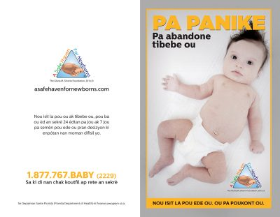 safe haven baby brochure in Creole