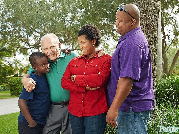 Nick Silverio with (from left) Kristopher Terrell and his parents, Aja Iglesias-Terrell and Richard Terrell JEFFERY A. SALTER